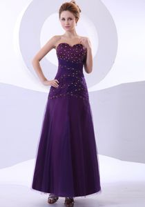 Purple Beaded Sweetheart Ankle-length Homecoming Dress For Juniors in Dallas