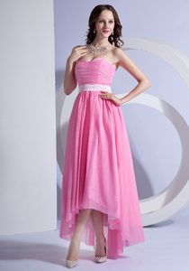 Pink Sweetheart Chiffon High-low Ruched Cocktail Homecoming Dress in Utah