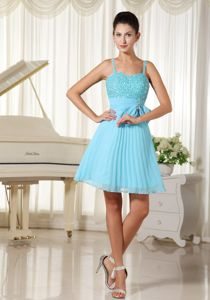 Spaghetti Straps Beaded Aqua Blue Sparkly Homecoming Dress With Bowknot