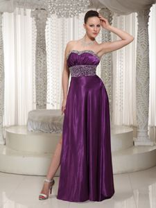 High Slit Eggplant Purple Beaded Elegant Evening Homecoming Dress in Texas