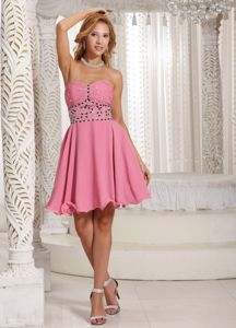 Stylish Sweetheart Beaded Rose Pink Cocktail Homecoming Dresses in El Paso