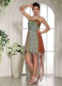 Leopard Chiffon Sweetheart High-low Vintage Homecoming Dresses in Bryan