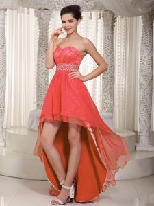 Sweetheart High-low Beading Coral Red Tight Homecoming Dresses in Austin