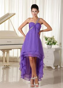 Beaded One Shoulder High-low Elegant Homecoming Court Dress in Lavender