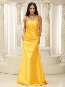 Appliqued One Shoulder Ruched Yellow Homecoming Queen Dress in Denton