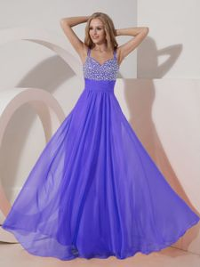 Beaded Straps Floor-length Homecoming Cocktail Dress in Purple in Amarillo