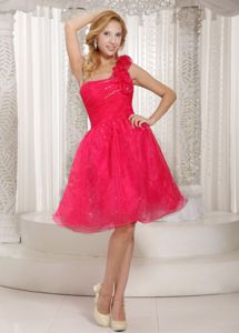Handmade Flowers Coral Red One Shoulder Ruched Homecoming Dresses