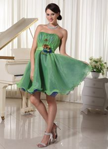 A-line Strapless Ruched and Handmade Flower Belt Homecoming Dress in Arcadia