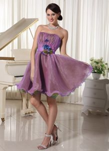 Purple Strapless Ruched and Flowery Belt Homecoming Dresses On Sale in Arbuckle