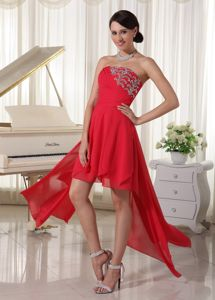 High-low Strapless Beaded and Ruched Homecoming Dresses for Juniors in Aptos