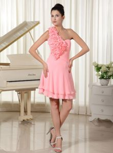 Watermelon Sparkly Homecoming Dresses with Hand Flowers Decorated in Anza