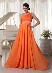 Orange One Shoulder Homecoming Princess Dresses with Brush Train in anderson