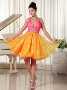 Colorful Straps Princess Organza Beaded Homecoming Dresses for Prom in Amboy