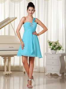 Chiffon One Shoulder Party Dress with Beads for Homecoming in Amador City