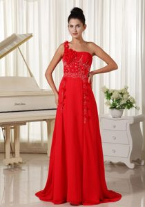 One Shoulder Hand Made flowers and Ruched Homecoming Dresses in Red in Alviso