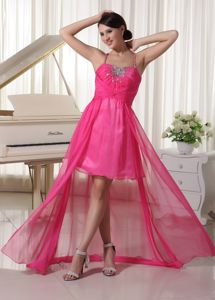Spaghetti Straps High-low Plus Size Homecoming Dresses in Hot Pink in Altadena