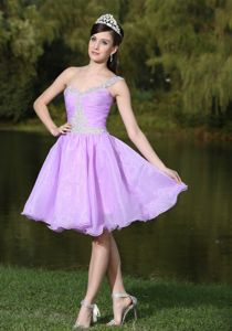 Lavender One Shoulder Homecoming Dresses On Sale with Beads in Alleghany