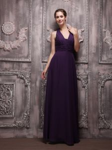 Empire Halter Ruched Junior Homecoming Dresses in Dark Purple in Ahwahnee