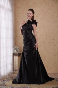 One Shoulder Court Train Homecoming Court Dresses in Black in Agua Dulce