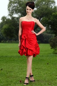 Red Strapless Style Homecoming Court Dresses with Hand Made Flowers in Coolidge