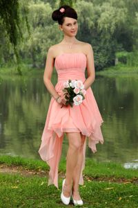 Light Pink Strapless Beaded Mini-length Homecoming Princess Dresses in Clifton