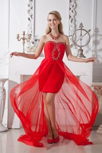 Red Strapless High-low Homecoming Queen Dresses with Beadings in Claypool