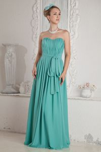 Empire Sweetheart Ruched Turquoise Homecoming Dresses in Sash in Chandler