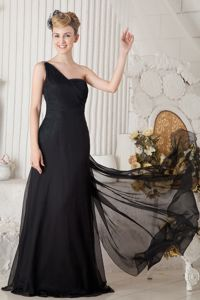 One Shoulder Ruched and Beaded Homecoming Dress in Black in Cave Creek