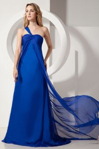 Royal Blue A-line One Shoulder Ruched Homecoming Queen Dresses in Arivaca