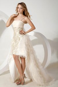White Column Straps High-low Tulle Party Dress for Homecoming in Aguila