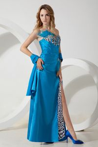 Sweetheart Beaded Sky Blue Homecoming Dresses with Leopard in Fultondale