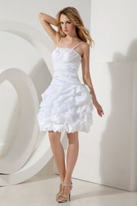 White Straps Beaded Inexpensive Homecoming Dresses in Taffeta in Flat Rock