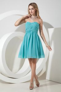 Turquoise Sweetheart Style Tight Homecoming Dresses with Ruches in Eufaula