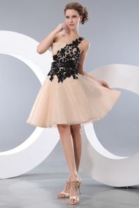 Champagne Princess One Shoulder Homecoming Dress with Appliques in Azusa
