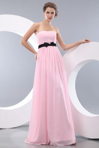 Baby Pink Strapless Floor-length Tight Homecoming Dresses with Belt in Worton