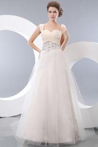 Beautiful Beaded White A-line Straps Sparkly Homecoming Dress in Floor-length