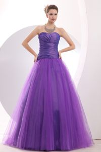 Cheap Purple Sweetheart A-line Floor-length Homecoming Queen Dress in Trappe
