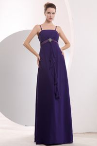 Cheap Purple Spaghetti Straps Empire Tight Homecoming Dresses in Floor-length