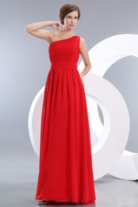 Amazing One Shoulder Floor-length Empire Sparkly Homecoming Dresses in Red