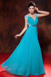 Elegant Pleated Teal Empire Floor-length Homecoming Dresses with Cap Sleeves