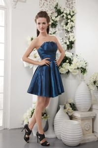 Popular Navy Blue Strapless Short Inexpensive Homecoming Dresses in Pasadena