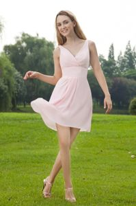 Cheap V-neck Mini-length Baby Pink Inexpensive Homecoming Dress in Crisfield