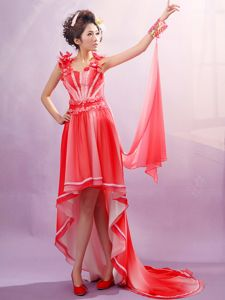 Latest Appliqued Red Straps High-low Vintage Homecoming Dresses in Callaway