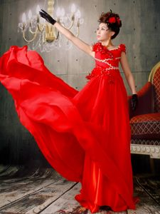 Red V-neck Empire Party Dresses for Homecoming with Brush Train and Flowers