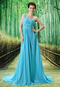 Appliqued Baby Blue One Shoulder Court Train Homecoming Dresses in Cardiff
