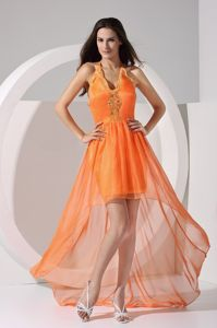 Orange Halter Top V-neck High-low Homecoming Queen Dress with Appliques