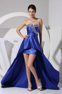 Royal Blue Sweetheart Asymmetrical Homecoming Court Dresses with Beading