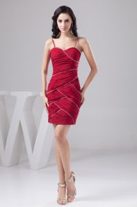 Dark Red Spaghetti Straps Mini-length Homecoming Queen Dress with Ruching
