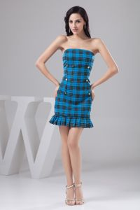 Blue Sheath Strapless Mini-length Homecoming Dresses for Prom with Pattern