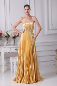 Pleated and Ruched Strapless Floor-length Homecoming Queen Dresses in Gold
